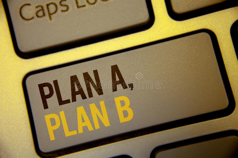 Handwriting text Plan A, Plan B. Concept meaning Strategic Solutions Ideas Paths to follow to choose from Text two Words written C royalty free illustration