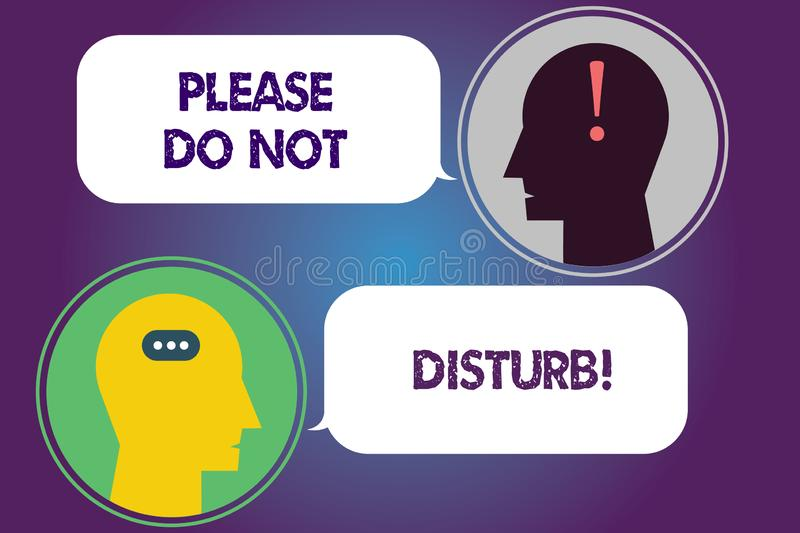 Handwriting text Please Do Not Disturb. Concept meaning Let us be quiet and rest Hotel room sign Privacy Messenger Room with Chat stock illustration