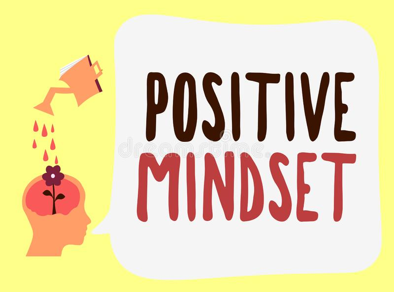 Handwriting text Positive Mindset. Concept meaning mental and emotional attitude that focuses on bright side.  vector illustration