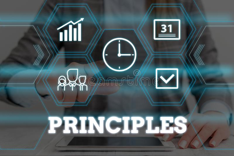 Handwriting text Principles. Concept meaning fundamental truth that serves as the base for a system of belief Woman wear. Handwriting text Principles. Conceptual royalty free stock photo