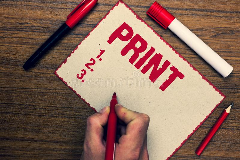 Handwriting text Print. Concept meaning Produce letter numbers symbols on paper by machine using ink or toner Three marker pens ni. Ce small pitch art paper stock photography