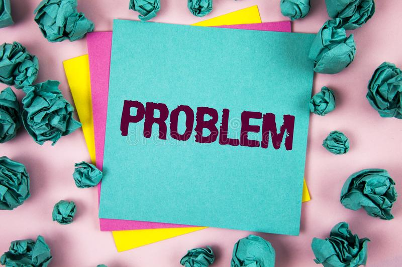 Handwriting text Problem. Concept meaning Trouble that need to be solved Difficult Situation Complication written on Sticky Note P. Handwriting text Problem royalty free stock image
