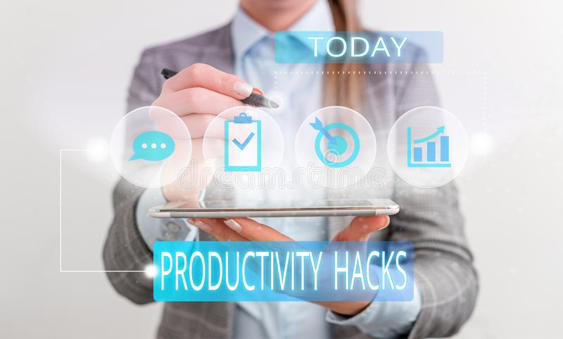 Handwriting text Productivity Hacks. Concept meaning tricks that you get more done in the same amount of time Female. Handwriting text Productivity Hacks stock images