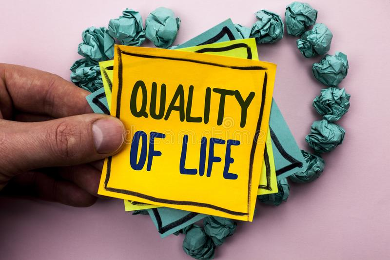 Handwriting text Quality Of Life. Concept meaning Good Lifestyle Happiness Enjoyable Moments Well-being written on Sticky Note Pap. Handwriting text Quality Of royalty free stock image