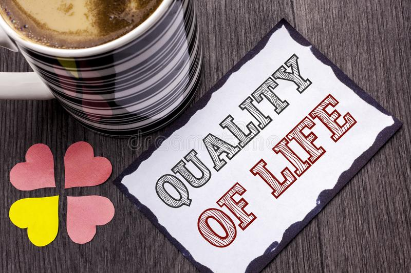 Handwriting text Quality Of Life. Concept meaning Good Lifestyle Happiness Enjoyable Moments Well-being written on Sticky Note Pap. Handwriting text Quality Of royalty free stock photos