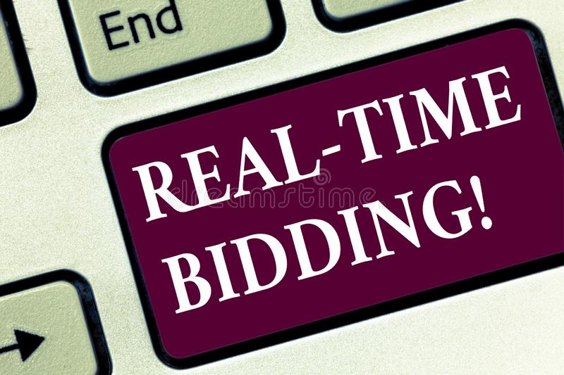 Handwriting text Real Time Bidding. Concept meaning Buy and sell advertising inventory by instant auctions Keyboard key. Intention to create computer message royalty free stock photography
