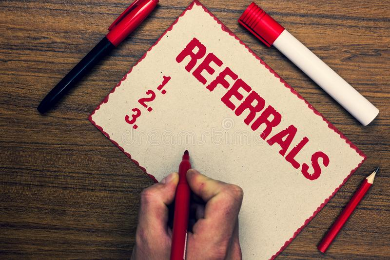 Handwriting text Referrals. Concept meaning Act of referring someone or something for consultation review Three marker pens nice s. Mall pitch art paper lovely royalty free stock image