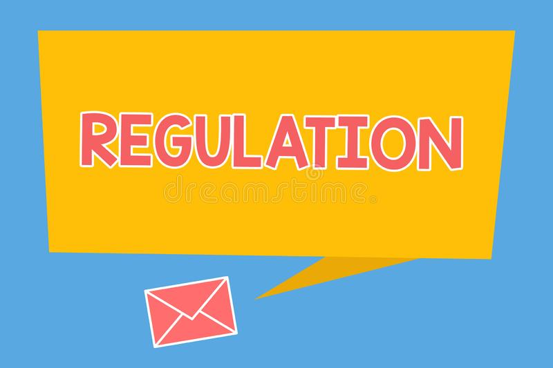 Handwriting text Regulation. Concept meaning Rule law or directive made and maintained by an authority.  vector illustration