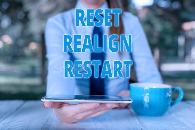 Handwriting text Reset Realign Restart. Concept meaning Life audit will help you put things in perspectives Business. Handwriting text Reset Realign Restart royalty free stock images