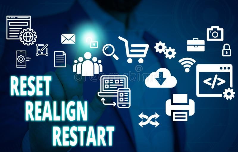 Handwriting text Reset Realign Restart. Concept meaning Life audit will help you put things in perspectives Male human. Handwriting text Reset Realign Restart royalty free stock photos