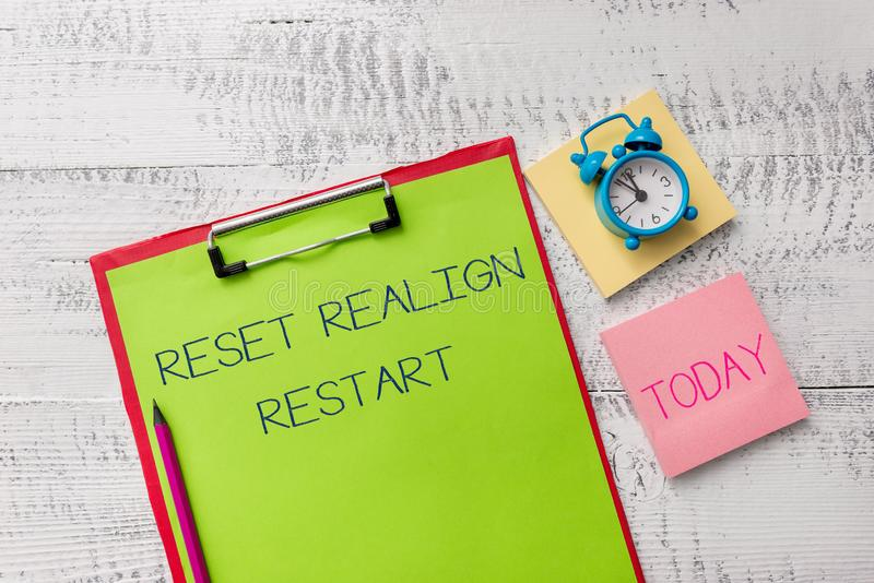 Handwriting text Reset Realign Restart. Concept meaning Life audit will help you put things in perspectives Metal. Handwriting text Reset Realign Restart stock images
