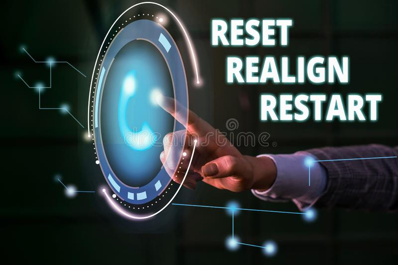 Handwriting text Reset Realign Restart. Concept meaning Life audit will help you put things in perspectives Lady. Handwriting text Reset Realign Restart stock photos