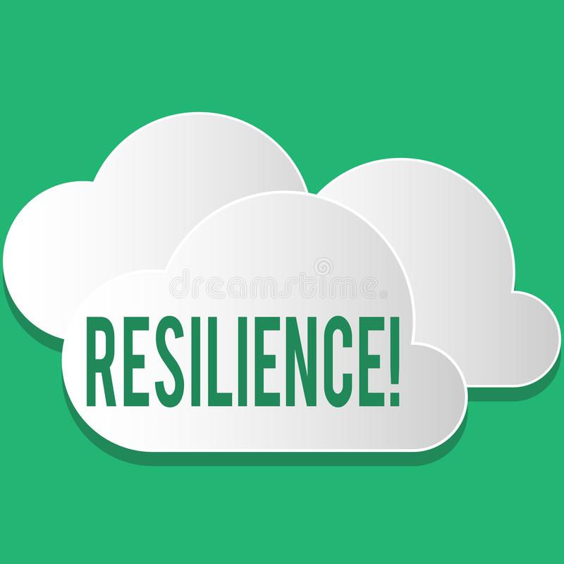 Handwriting text Resilience. Concept meaning Capacity to recover quickly from difficulties Persistence. Handwriting text Resilience. Concept meaning Capacity to royalty free illustration