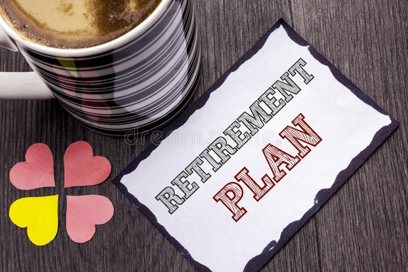 Handwriting text Retirement Plan. Concept meaning Savings Investments that provide incomes for retired workers written on Sticky N. Handwriting text Retirement royalty free stock image