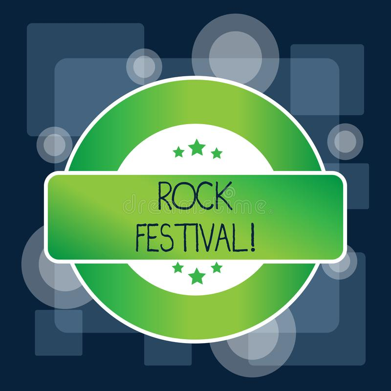 Handwriting text Rock Festival. Concept meaning Largescale rock music concert featuring heavy metals genre Colored Round. Handwriting text Rock Festival royalty free illustration