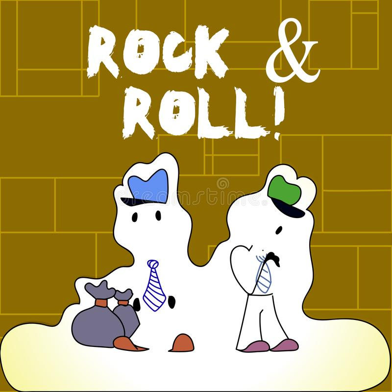 Handwriting text Rock And Roll. Concept meaning Musical Genre Type of popular dance music Heavy Beat Sound. Handwriting text Rock And Roll. Conceptual photo royalty free illustration