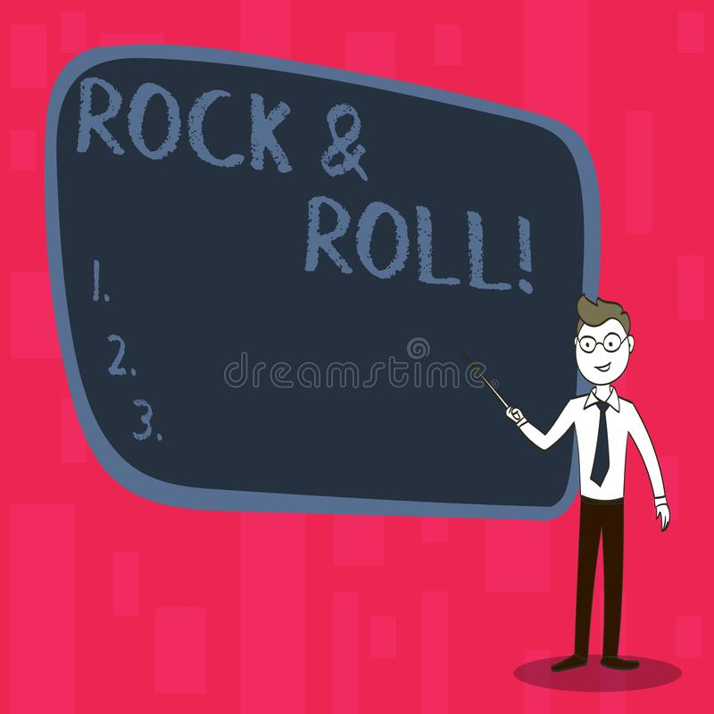 Handwriting text Rock And Roll. Concept meaning Musical Genre Type of popular dance music Heavy Beat Sound. Handwriting text Rock And Roll. Conceptual photo vector illustration