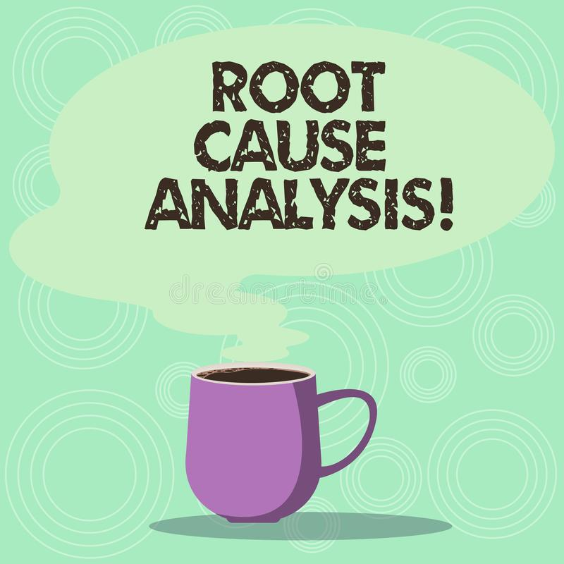 Handwriting text Root Cause Analysis. Concept meaning method of problem solving used for identifying causes Mug photo. Cup of Hot Coffee with Blank Color Speech royalty free illustration