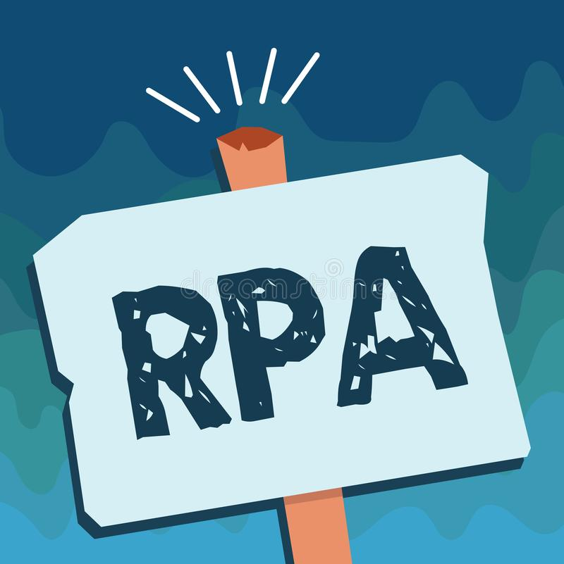 Handwriting text Rpa. Concept meaning The use of software with artificial intelligence to do basic task.  royalty free illustration