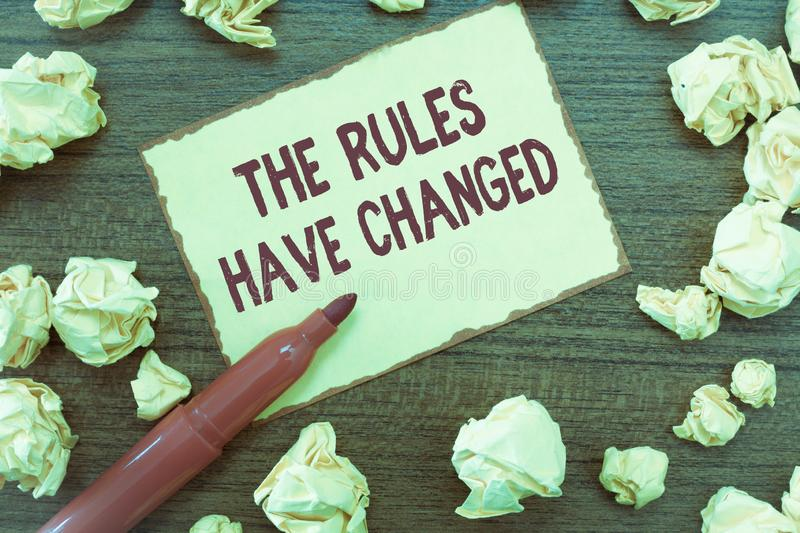 Handwriting text The Rules Have Changed. Concept meaning the agreement or Policy has a new set of commands.  royalty free stock images
