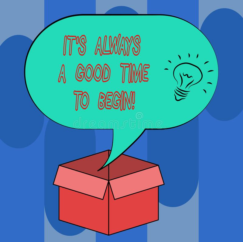 Handwriting text It S Is Always A Good Time To Begin. Concept meaning Start again right now Positive attitude Idea icon. Inside Blank Halftone Speech Bubble royalty free illustration
