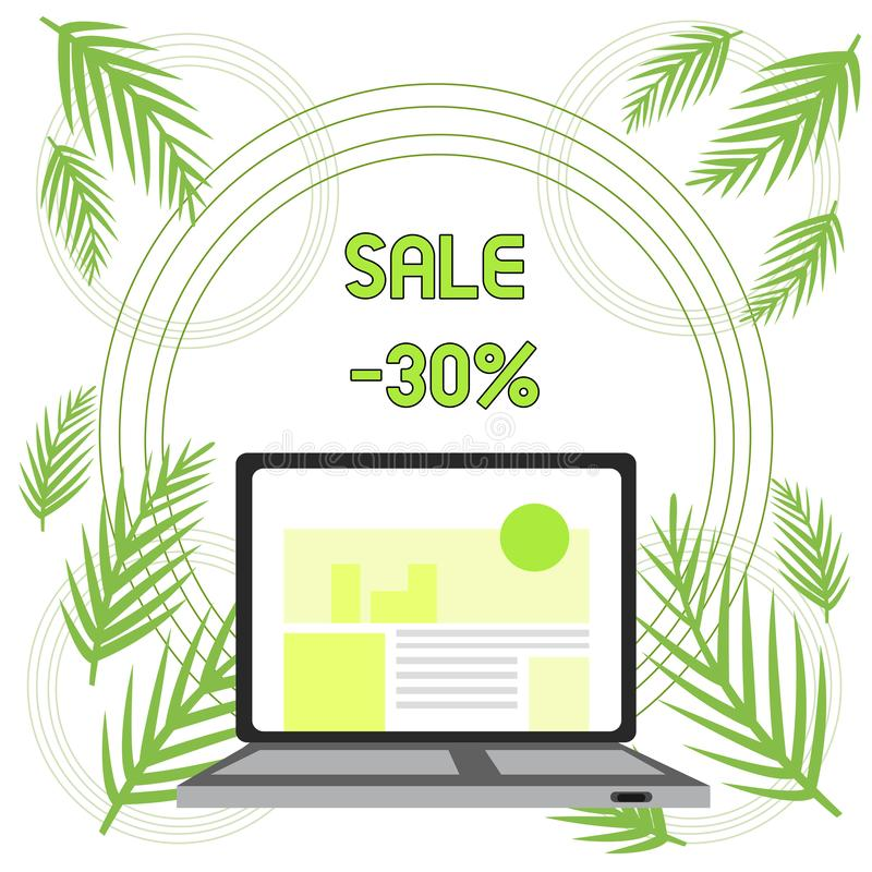 Handwriting text Sale 30 Percent. Concept meaning A promo price of an item at 30 percent markdown Open Modern Laptop. Handwriting text Sale 30 Percent vector illustration