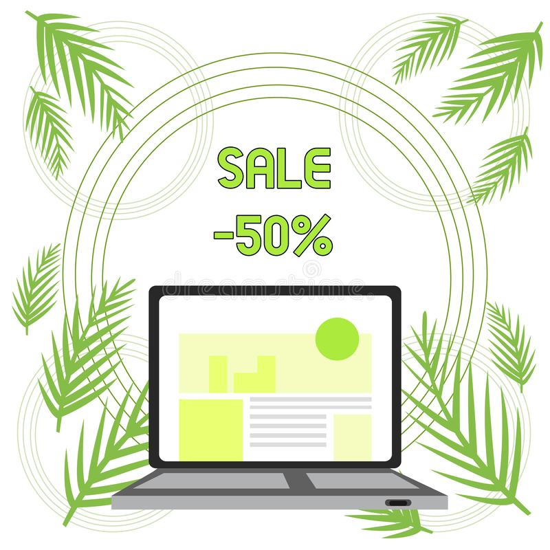 Handwriting text Sale 50 Percent. Concept meaning A promo price of an item at 50 percent markdown Open Modern Laptop. Handwriting text Sale 50 Percent royalty free illustration