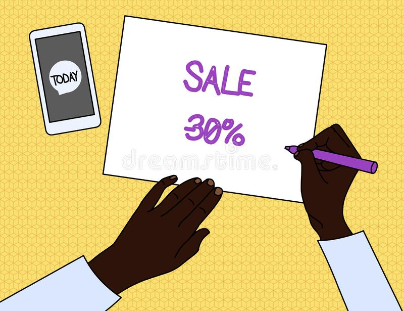 Handwriting text Sale 30 Percent. Concept meaning A promo price of an item at 30 percent markdown Top View Man Writing. Handwriting text Sale 30 Percent royalty free illustration
