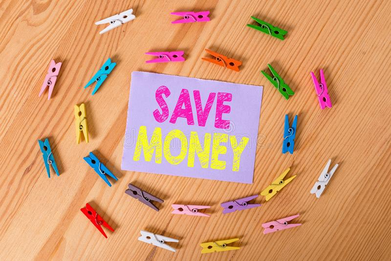 Handwriting text Save Money. Concept meaning store some of your cash every month to use them sometime later Colored. Handwriting text Save Money. Conceptual royalty free stock photography
