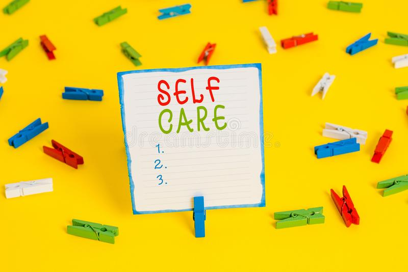 Handwriting text Self Care. Concept meaning the practice of taking action to improve one s is own health Colored. Handwriting text Self Care. Conceptual photo royalty free stock image