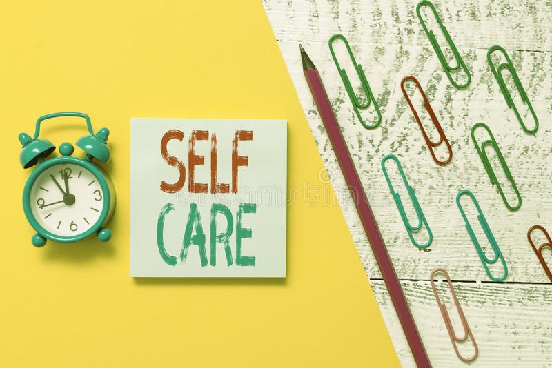 Handwriting text Self Care. Concept meaning the practice of taking action to improve one s is own health Notepad marker. Handwriting text Self Care. Conceptual stock photos