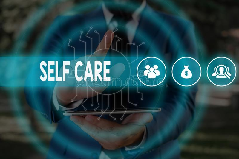 Handwriting text Self Care. Concept meaning the practice of taking action to improve one s is own health Male human wear. Handwriting text Self Care. Conceptual stock photo