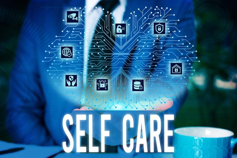 Handwriting text Self Care. Concept meaning the practice of taking action to improve one s is own health Male human wear. Handwriting text Self Care. Conceptual royalty free stock images