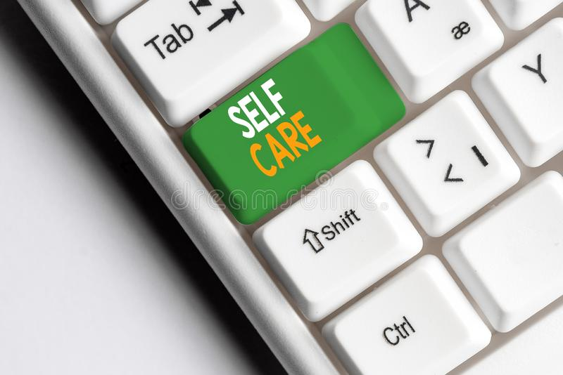 Handwriting text Self Care. Concept meaning the practice of taking action to improve one s is own health White pc. Handwriting text Self Care. Conceptual photo stock images