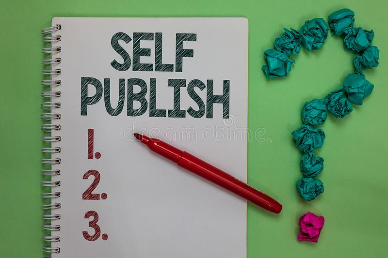 Handwriting text Self Publish. Concept meaning Published work independently and at own expense Indie Author Notebook marker crumpl. Ed papers forming question stock photo