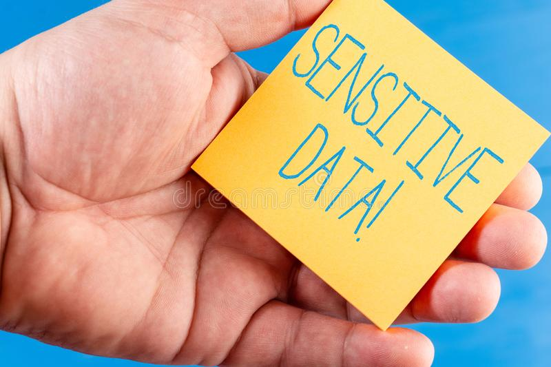 Handwriting text Sensitive Data. Concept meaning information that is protected against unwarranted disclosure. Handwriting text Sensitive Data. Conceptual photo stock image
