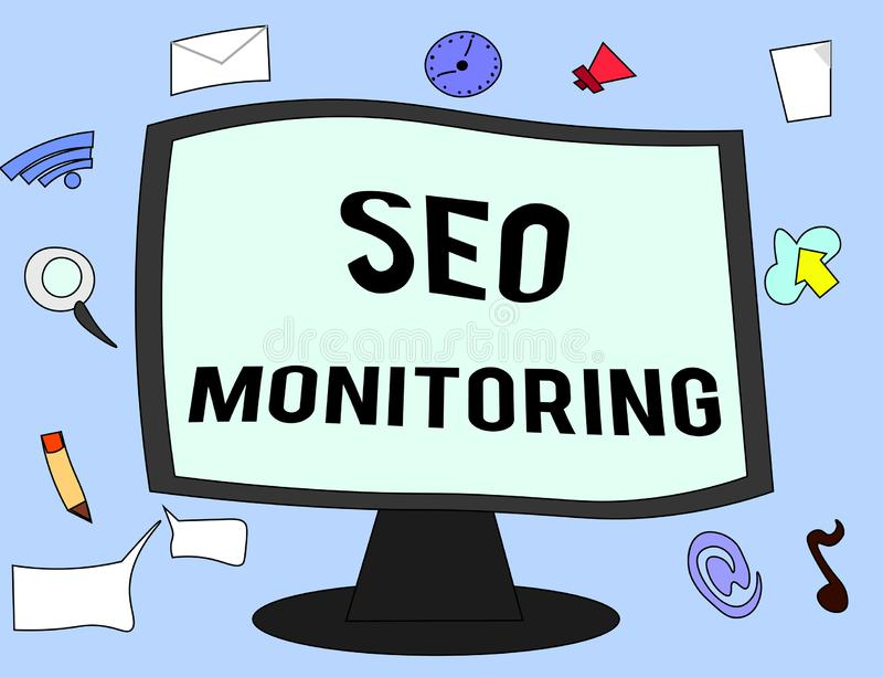 Handwriting text Seo Monitoring. Concept meaning Tracking the progress of strategy made in the platform.  stock illustration