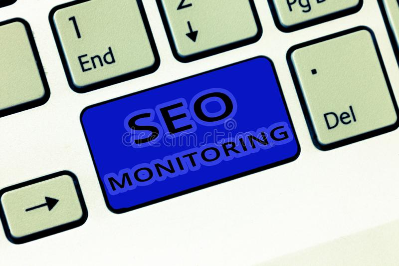 Handwriting text Seo Monitoring. Concept meaning Tracking the progress of strategy made in the platform.  stock photos