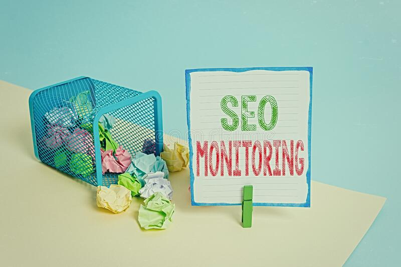 Handwriting text Seo Monitoring. Concept meaning Tracking the progress of strategy made in the platform Trash bin crumpled paper. Handwriting text Seo Monitoring stock images