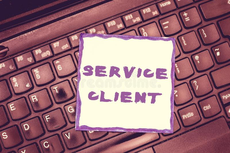 Handwriting text Service Client. Concept meaning Dealing with customers satisfaction and needs efficiently.  royalty free stock photos