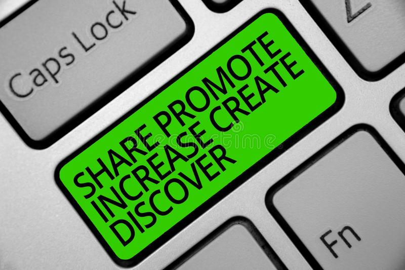 Handwriting text Share Promote Increase Create Discover. Concept meaning Marketing inspiration motivation Keyboard green key Inten stock image