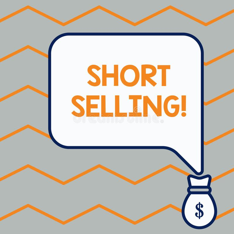 Handwriting text Short Selling. Concept meaning Act of selling an asset that you do not currently own Bag pocket of. Handwriting text Short Selling. Conceptual vector illustration