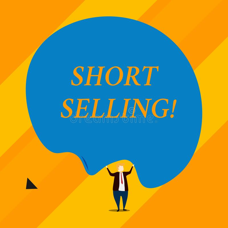 Handwriting text Short Selling. Concept meaning Act of selling an asset that you do not currently own. Handwriting text Short Selling. Conceptual photo Act of royalty free illustration