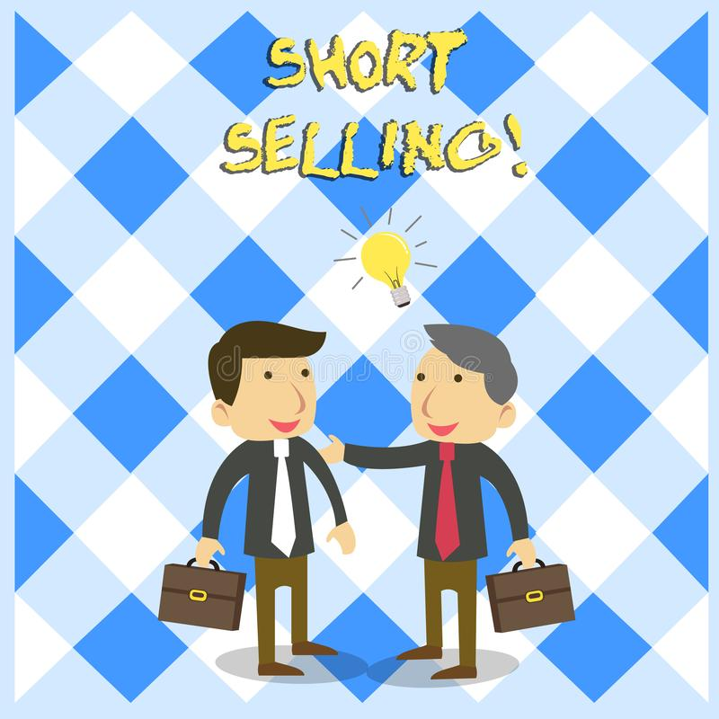 Handwriting text Short Selling. Concept meaning Act of selling an asset that you do not currently own Two White. Handwriting text Short Selling. Conceptual photo royalty free illustration