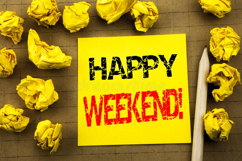 Handwriting text showing Heppy Weekend . Business concept for Weekend Message written on sticky note paper on the vintage backgrou royalty free stock photography