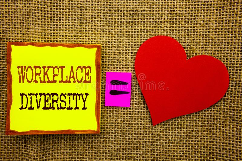 Handwriting text showing Workplace Diversity. Business concept for Corporate Culture Global Concept For Disability written on Stik. Handwriting text showing stock photos