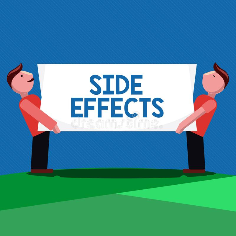 Handwriting text Side Effects. Concept meaning An unintended negative reaction to a medicine and treatment.  stock illustration