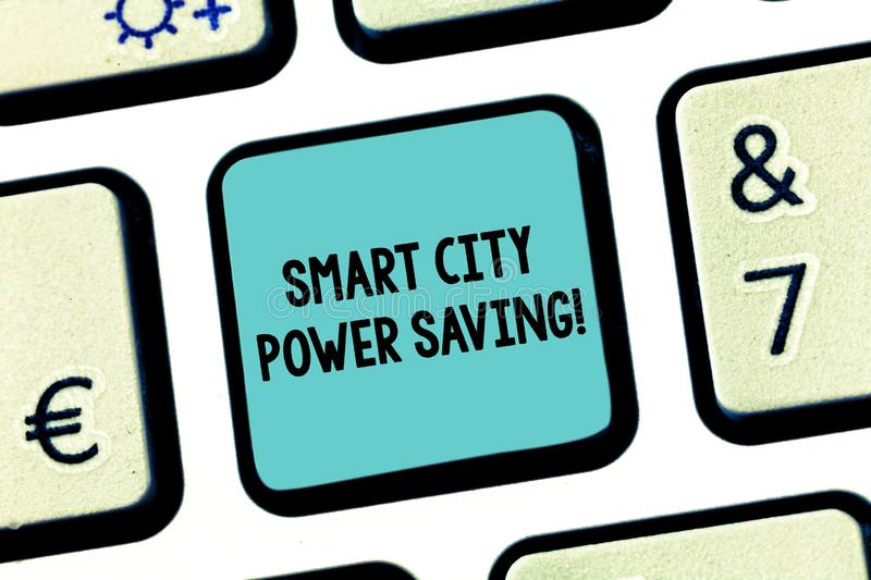 Handwriting text Smart City Power Saving. Concept meaning Connected technological cities electricity savings Keyboard. Key Intention to create computer message royalty free stock images