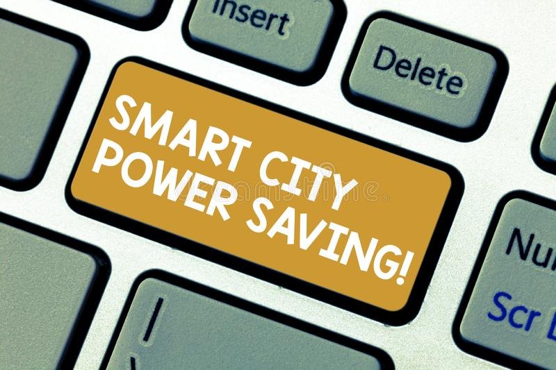 Handwriting text Smart City Power Saving. Concept meaning Connected technological cities electricity savings Keyboard. Key Intention to create computer message stock images