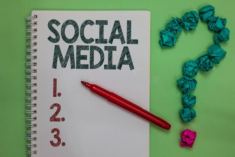 Handwriting text Social Media. Concept meaning Online communication channel Networking Microblogging Notebook marker crumpled pape. Rs forming question mark royalty free stock photo